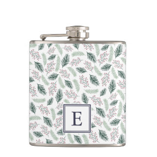 Holly and Pine Monogrammed Christmas Hip Flask