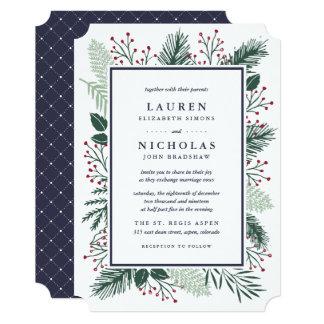 Holly and Pine Wedding Invitation