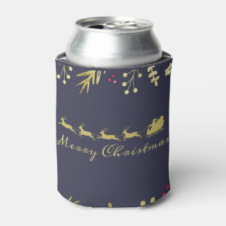 Holly and Santa's Sleigh Merry Christmas Beer Can Cooler