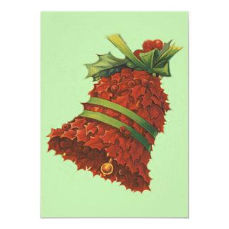 Holly Bell Green Ribbon Winterberry 13 Cm X 18 Cm Invitation Card
