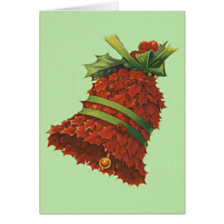 Holly Bell Green Ribbon Winterberry Greeting Card