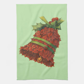 Holly Bell Green Ribbon Winterberry Hand Towel
