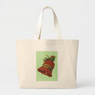 Holly Bell Green Ribbon Winterberry Jumbo Tote Bag
