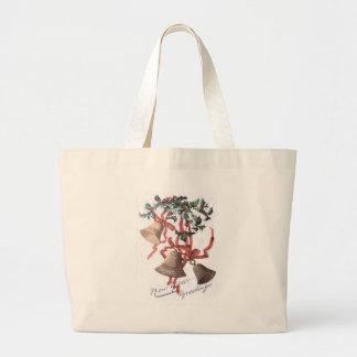 Holly Bell Red Ribbon Jumbo Tote Bag