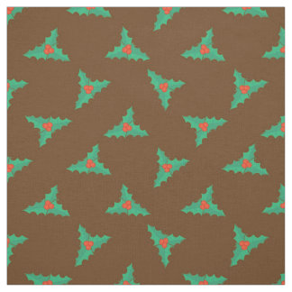 Holly berries and leaves Christmas Fabric