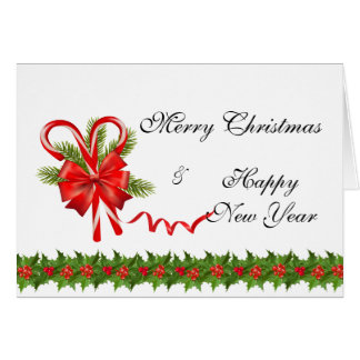 Holly Berries Christmas and Candy Canes Card