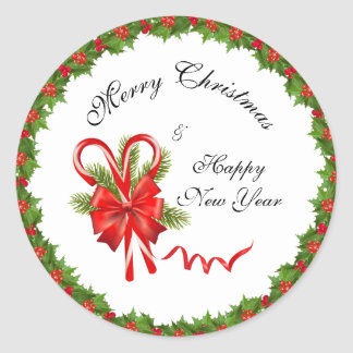 Holly Berries Christmas and Candy Canes Classic Round Sticker