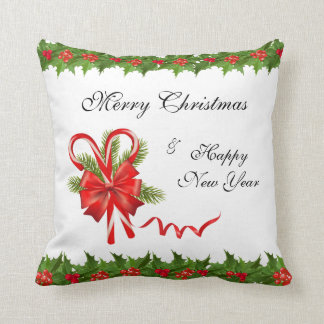 Holly Berries Christmas and Candy Canes Cushion