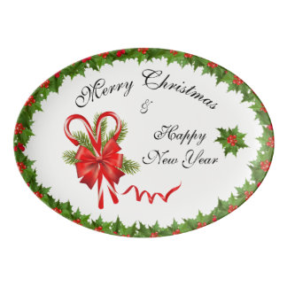 Holly Berries Christmas and Candy Canes Porcelain Serving Platter