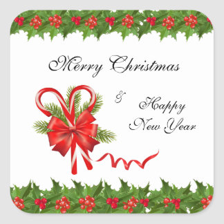 Holly Berries Christmas and Candy Canes Square Sticker