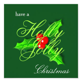 "Holly berries Christmas Photocard 5.25"" Square Invitation Card"