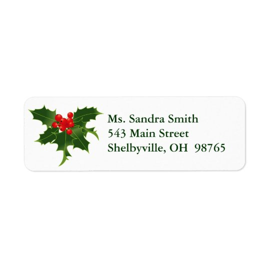 Holly Berries Design Return Address Labels