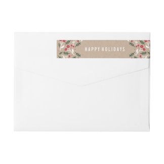 Holly Berries | Holiday Return Address Labels Wraparound Return Address Label