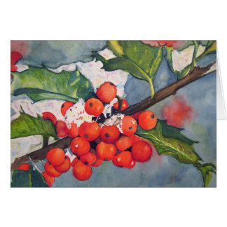 Holly Berries in the Snow Greeting Card