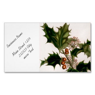 holly berries magnetic business cards