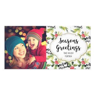 Holly Berries Pattern Seasons Greetings Photo Card