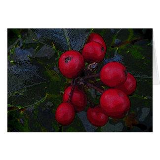 Holly Berries Seasons Greetings Card