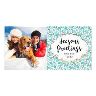 Holly Berries Seasons Greetings Photo Card