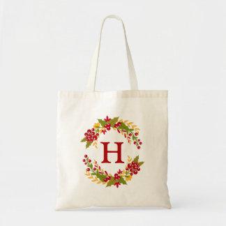 Holly Berries Wreath Monogrammed Budget Tote Bag