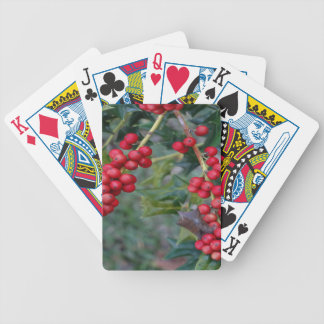 Holly berry bicycle playing cards
