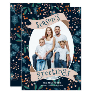 Holly Berry Blue Modern Season's Greetings Card