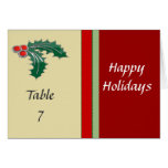 Holly Berry Christmas Table Number Cards
