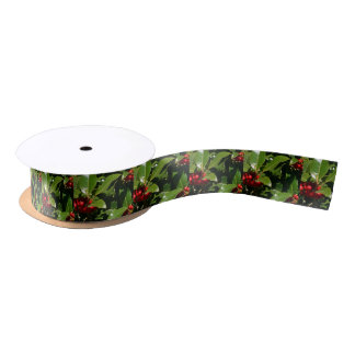 Holly Berry Christmas Wrapping Paper Satin Ribbon