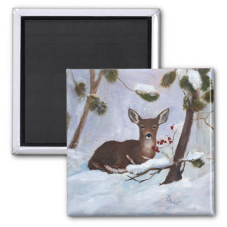 Holly Berry Deer Magnet