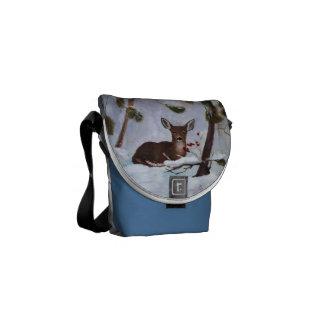 Holly Berry Deer Mini Messenger Bag