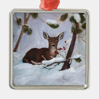 Holly Berry Deer Ornament