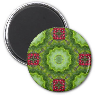 Holly Berry Kaleidoscopic Mandala Design Magnet