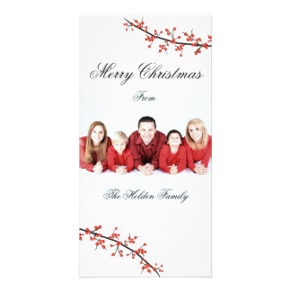 Holly Berry Merry Christmas Card Photo Card Template