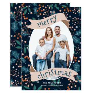 Holly Berry Modern Merry Christmas Card