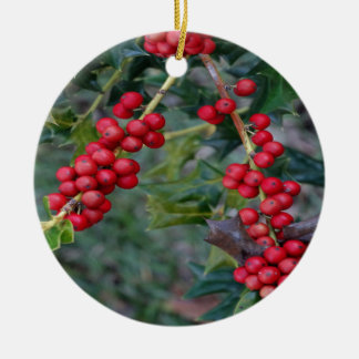 Holly Berry Round Ceramic Decoration