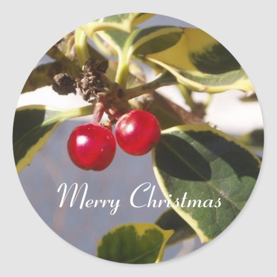 Holly & Berry Round Sticker
