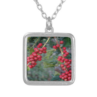 Holly berry silver plated necklace