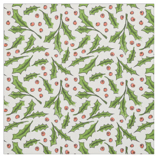Holly Berry Sprig Pattern Fabric