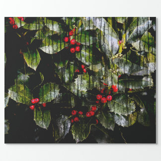 "Holly Berry Wrapping Paper, 30"" x 6'"