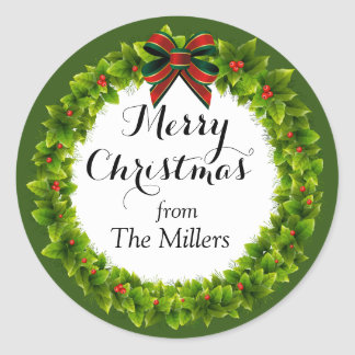 Holly Berry Wreath Custom Christmas Classic Round Sticker