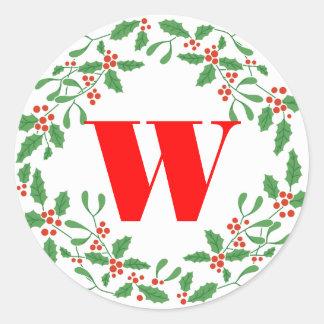 Holly Bough Wreath Monogram Gift Sticker