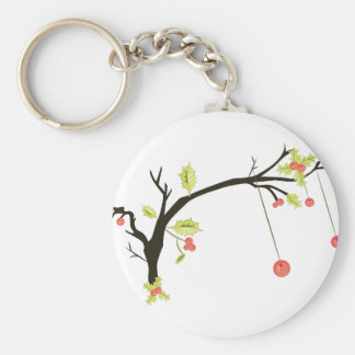 Holly Branch Basic Round Button Key Ring