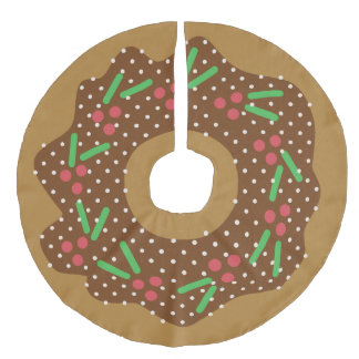 Holly Christmas Donut Red + Green Sprinkles Iced Faux Linen Tree Skirt