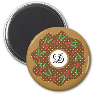 Holly Christmas Donut Red + Green Sprinkles Iced Magnet