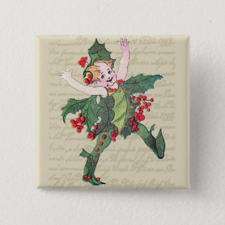 Holly Christmas Fairy 15 Cm Square Badge