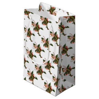 Holly Christmas Flower Child Cute Funny Floral Small Gift Bag