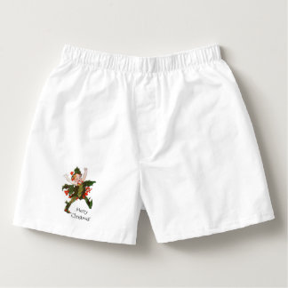 Holly Christmas Flower Child Cute Vintage Floral Boxers
