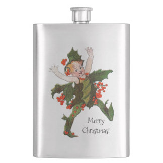 Holly Christmas Flower Child Cute Vintage Floral Hip Flask