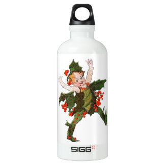 Holly Christmas Flower Child Cute Vintage Floral Water Bottle