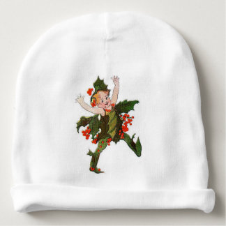 Holly Christmas Flower Child Funny Floral Vintage Baby Beanie