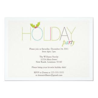 Holly Christmas Party 13 Cm X 18 Cm Invitation Card